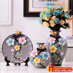 Bộ gốm sứ 2 bình 1 đĩa bông hoa 005